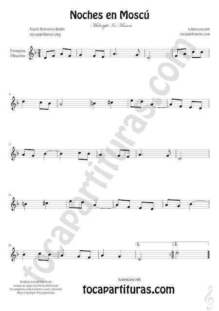 Trompeta y Fliscorno Partitura de Noches en Moscú Sheet Music for trumpet and flugelhorn Midnight In Moscow