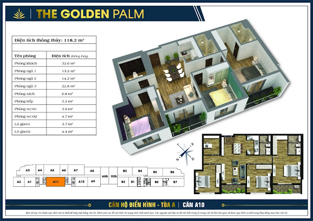 Mặt bằng căn A11 tòa A The Golden Palm
