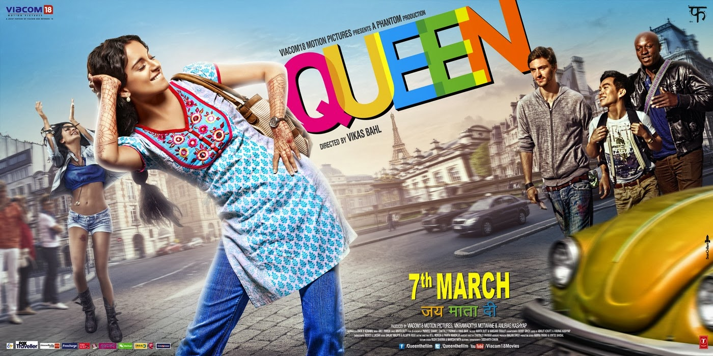 Kangana Ranuat in a dancing move on theatrical official poster of Bollywood movie Queen