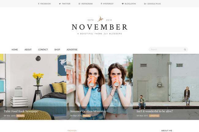 November - Responsive Minimal Blogger Template