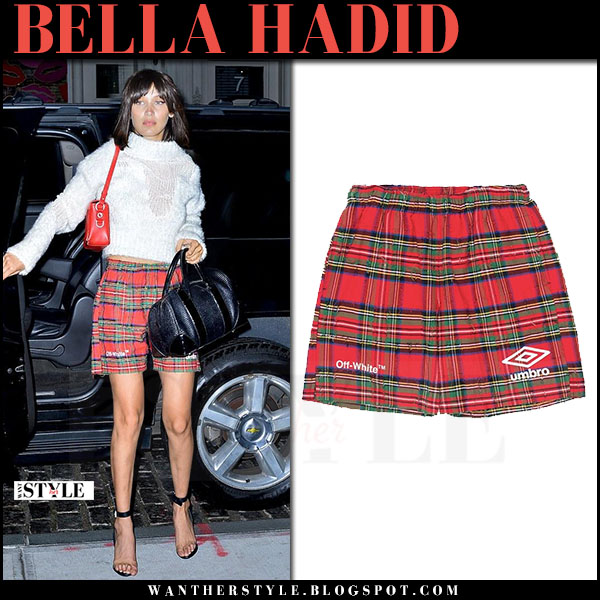 Bella Hadid in white sweater and red check print shorts off white umbro what she wore june 5 2017