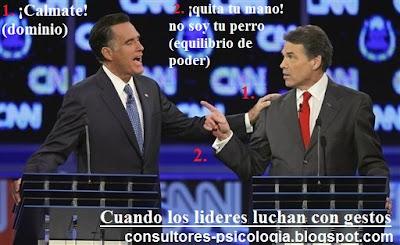 Mitt Romney y Rick perry imagen política, persuasión y proxémica