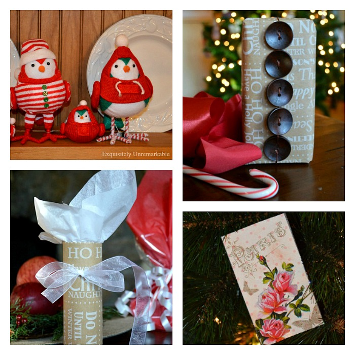 Collage of Christmas birds and wrapped gifts
