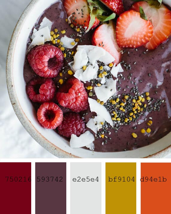 10 smoothies recipes color palettes, acai and berries mix