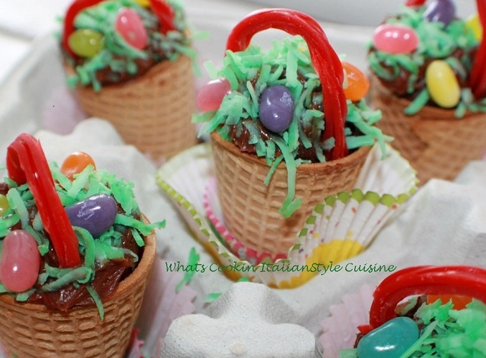 Little Easter Baskets made from Ice Cream cones with cake batter
