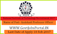 National Institute of Technology Recruitment 2017-Assistant Professor Post