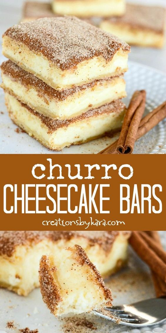 Churro Cheesecake Bars #churro #cheesecake #cakerecipes #bars #dessert #dessertrecipes #easydessertrecipes Desserts, Healthy Food, Easy Recipes, Dinner, Lauch, Delicious, Easy, Holidays Recipe, Special Diet, World Cuisine, Cake, Grill, Appetizers, Healthy Recipes, Drinks, Cooking Method, Italian Recipes, Meat, Vegan Recipes, Cookies, Pasta Recipes, Fruit, Salad, Soup Appetizers, Non Alcoholic Drinks, Meal Planning, Vegetables, Soup, Pastry, Chocolate, Dairy, Alcoholic Drinks, Bulgur Salad, Baking, Snacks, Beef Recipes, Meat Appetizers, Mexican Recipes, Bread, Asian Recipes, Seafood Appetizers, Muffins, Breakfast And Brunch, Condiments, Cupcakes, Cheese, Chicken Recipes, Pie, Coffee, No Bake Desserts, Healthy Snacks, Seafood, Grain, Lunches Dinners, Mexican, Quick Bread, Liquor