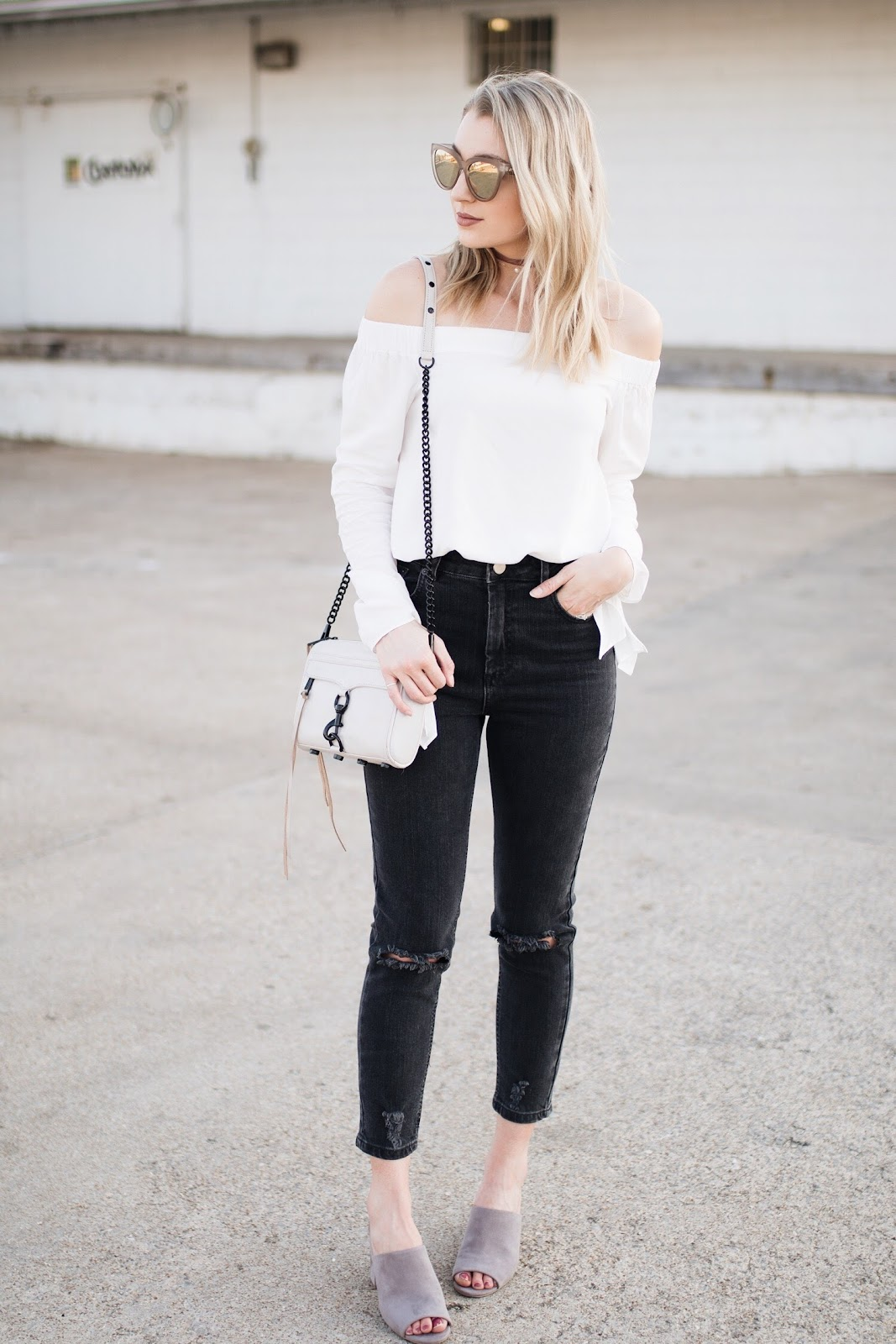 white off-the-shoulder top with tie details