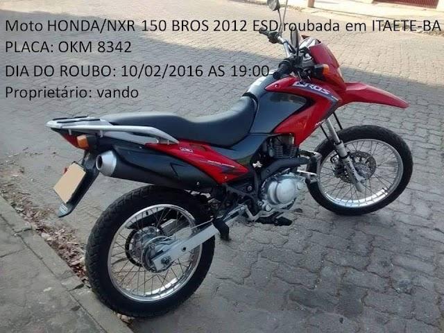 Itaetê: Homem tem moto roubada à mão armada