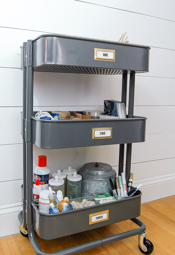 organizing craft supplies with ikea 39 s raskog utility cart little house of four creating a. Black Bedroom Furniture Sets. Home Design Ideas