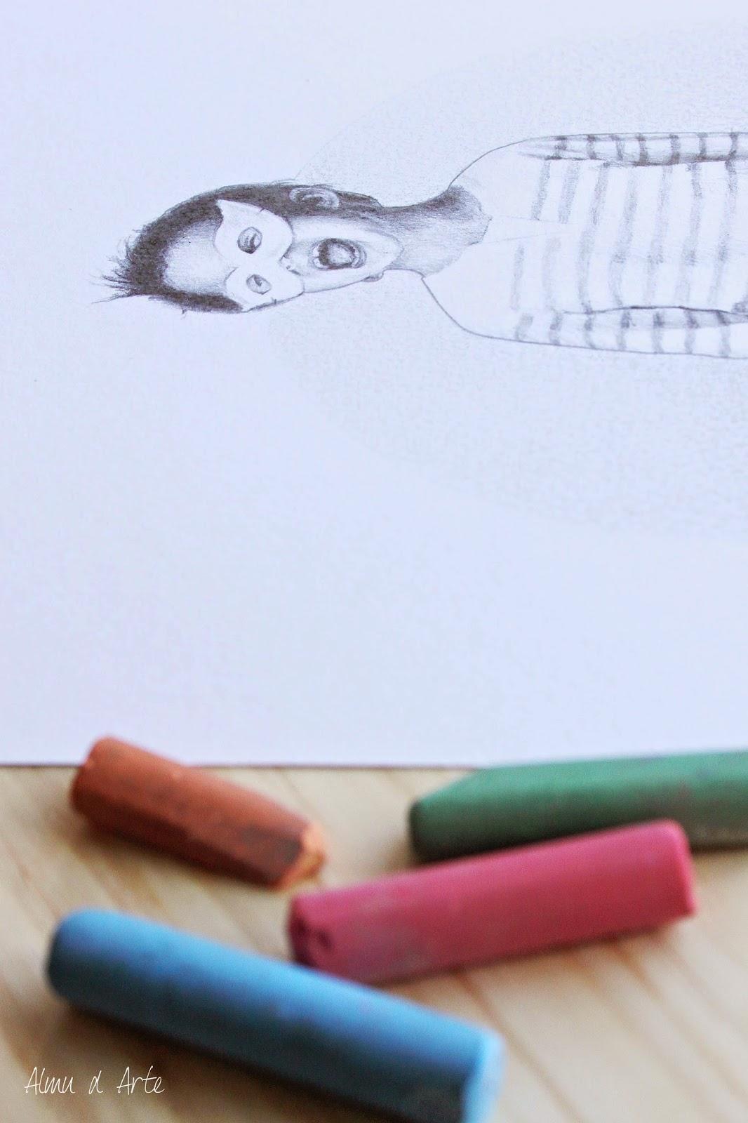 Retrato infantil a lápiz de grafito