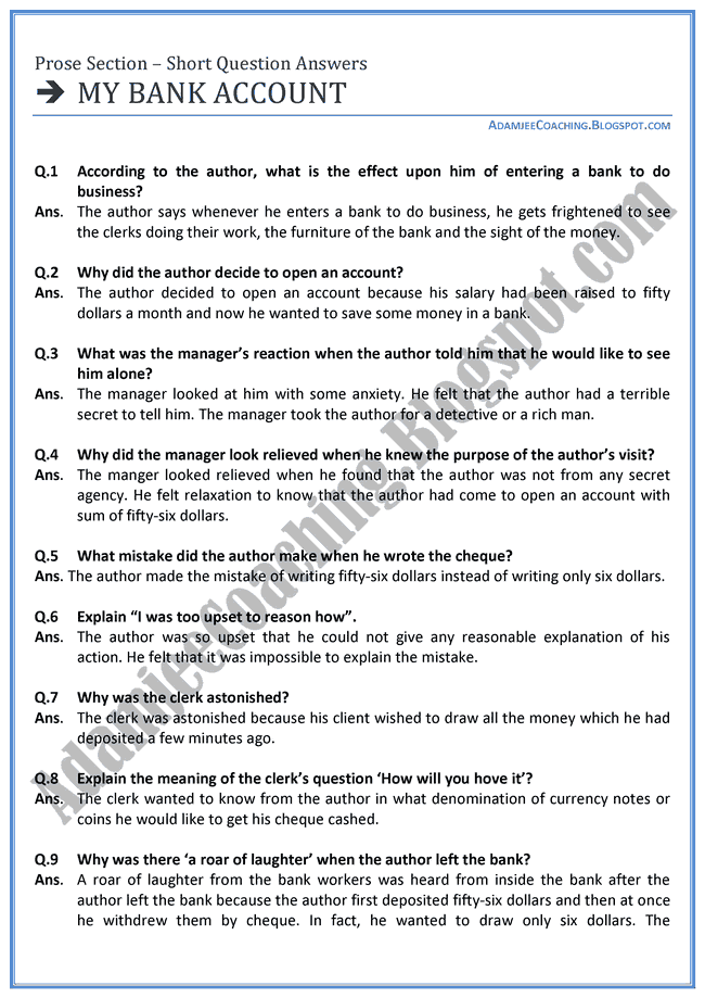 English-XI-My-Bank-Account-short-question-answers
