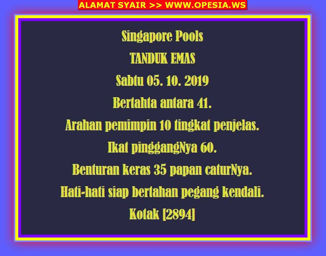 Kode syair Singapore Sabtu 5 Oktober 2019 2