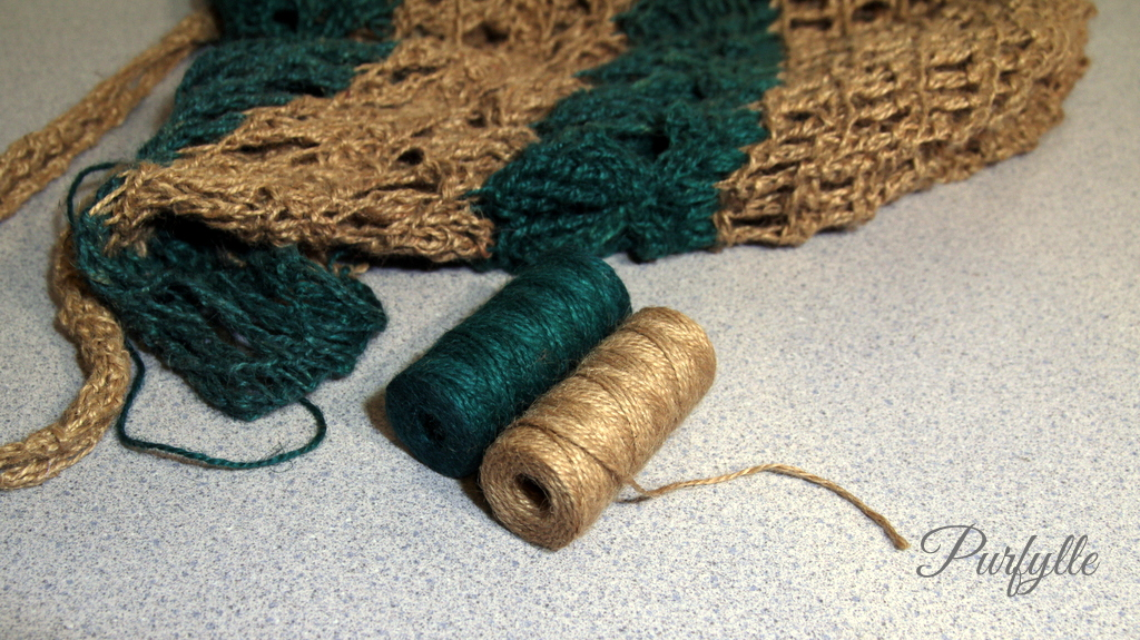 jute string in natural brown and dyed green