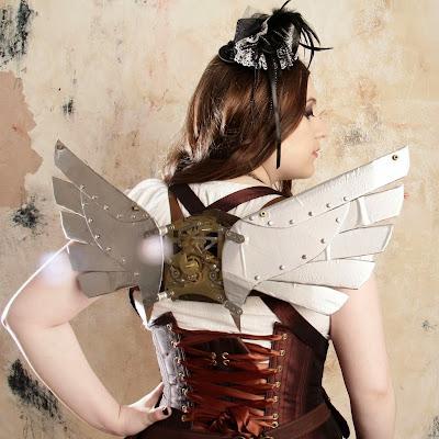 cosplay costume angel wings mask corset top hat fascinator skirt