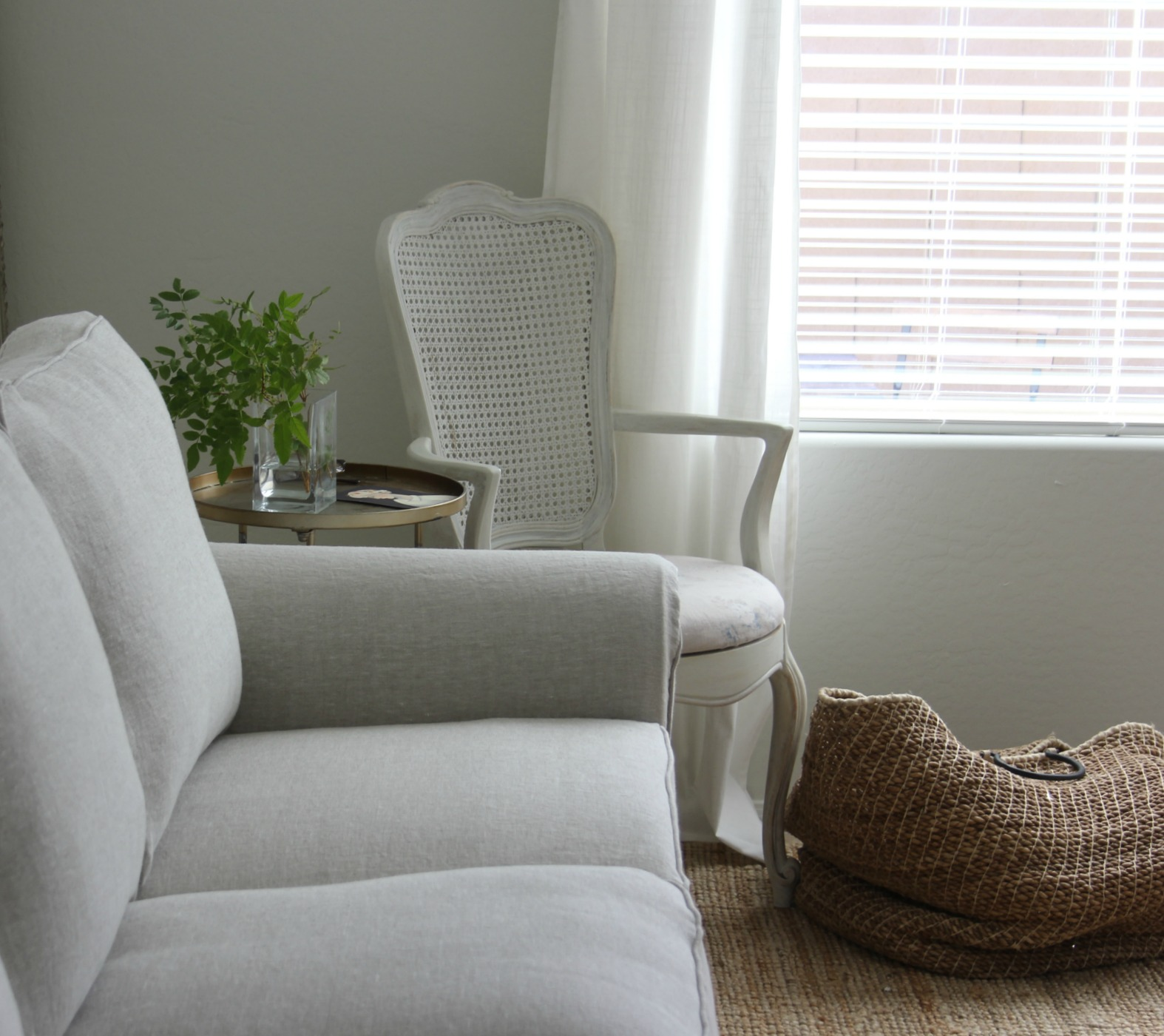 Belgian Linen Bemz cover for Ikea Ektorp sofa at fixer upper for Hello Lovely Studio