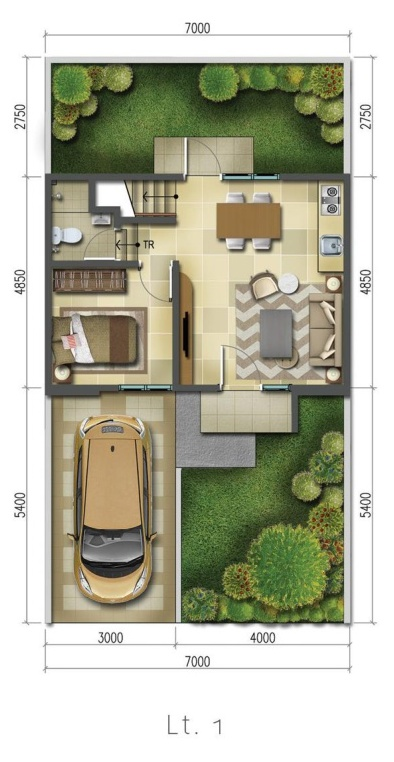 Denah rumah minimalis ukuran 7x13 meter 2 kamar tidur 2 lantai