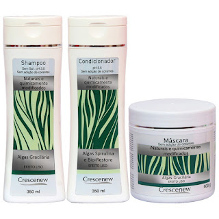 Kit shampoo, condicionador e máscara tratamento cabelo algas marinhas