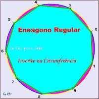 Desenho de um polígono regular de nove lados, um eneágono, inscrito em uma circunferência