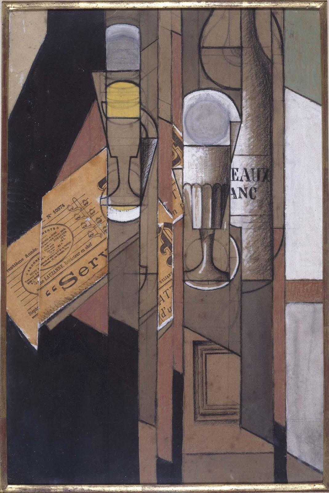 Las Ruinas De Palmira Vasos Periódico Y Botella De Vino 1913 Juan Gris