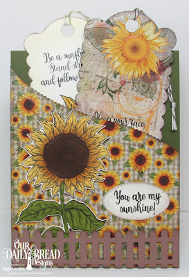 Our Daily Bread Designs Stamp Set: Be A Sunflower, Custom Dies: Sunflower, Bookmarks, Leafy Edged Border, Pierced Ovals, Fence, Paper Collection:  Follow The Son Paper