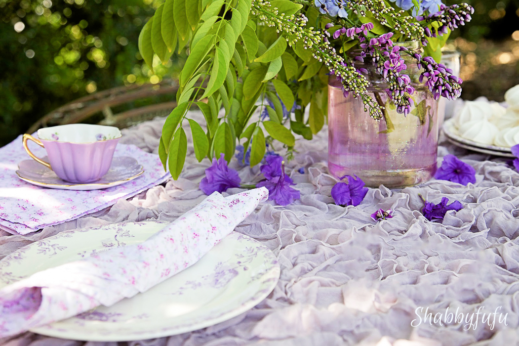pretty tablescape with purple