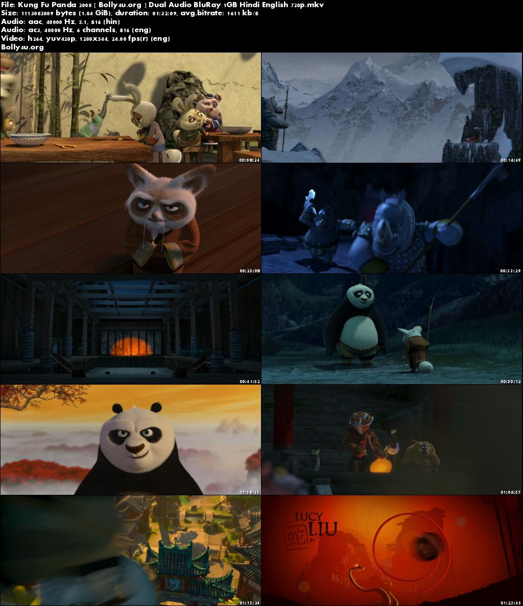 Kung Fu Panda 2008 BluRay 1GB Hindi Dual Audio ORG 720p Download
