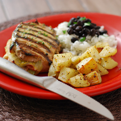 easy cuban roasted potatoes, Cubano pork chops