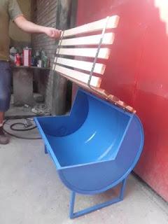 เก้าอี้ยาวช่องเก็บของถัง 200 ลิตร