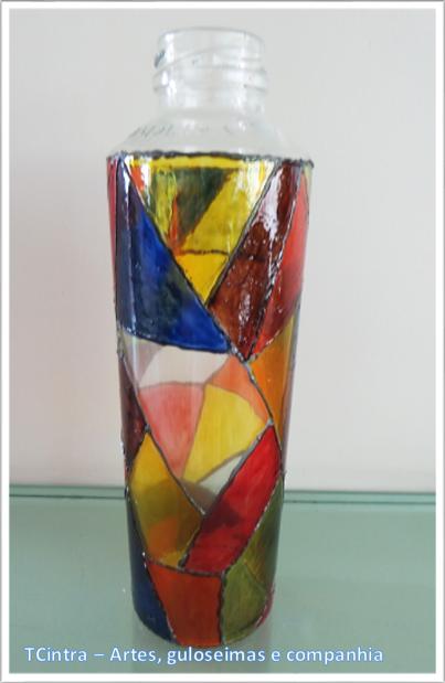 pasta relevo para vidro; falso vitral; reciclando garrafas;