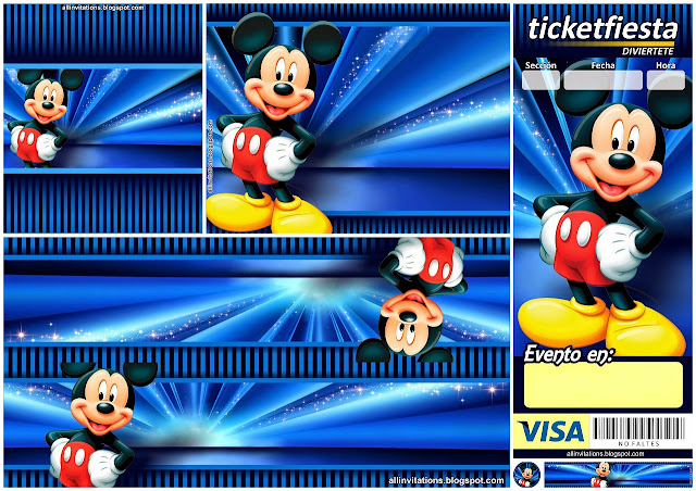 Mickey in Blue: Free Printable Birthday Party Mini Kit.