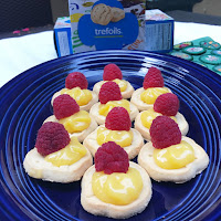 Trefoil Girl Scout Cookies with Lemon Curd and Raspberry