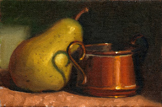 Oil painting of a green pear beside a small copper pot with handles.