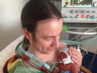 Rumer with Chris, intubated by mouth in NICU