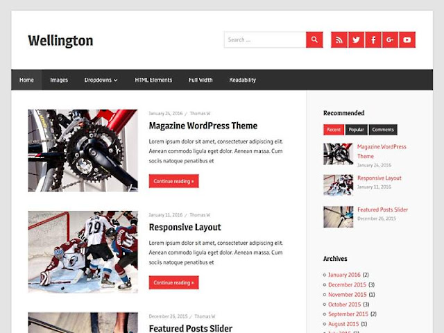 Wellington WordPress Theme responsive layout, SEO friendly, mobile friendly design, high quality appearance, related post widget, stylish design, dynamic structure, sylish popular post widget, recent post widget, social share buttons, responsive dropdown menubar.