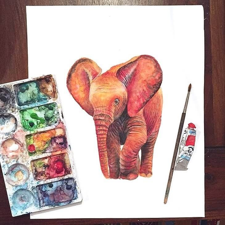 04-Red-Baby-Elephant-Kathrin-Schwarz-Animal-Paintings-in-Different-Styles-www-designstack-co