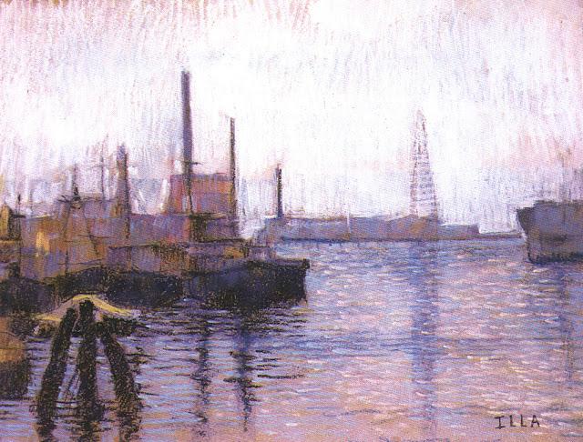 paisaje realizado en oleo pastel de una vista del riachuelo con algunos barcos atracados