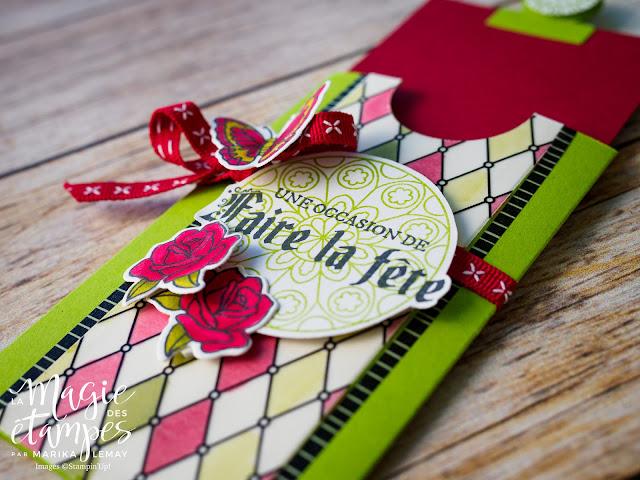 Pochette à carte Stampin' Up! confectionnée avec le jeu d'étampes Vitrail