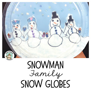 See how to make this Snowman Family Snow Globe.  This winter craft project & writing activity also makes a great art lesson about families and identity.