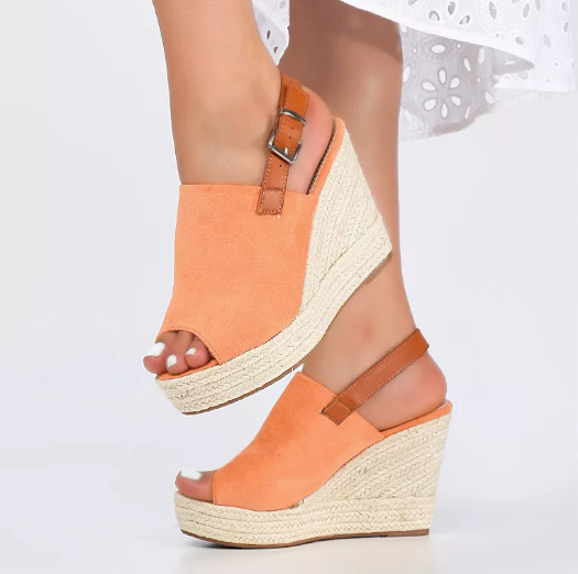 Sandale cu platforma din piele intoarsa eco Portocalii