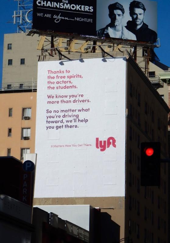 Lyft Thanks to free spirits actors students billboard