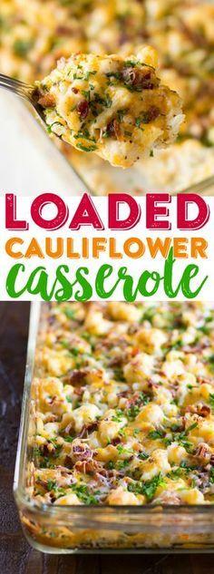 LOADED CAULIFLOWER CASSEROLE #loaded #cauliflower #casserole #veggies #veganrecipes #vegetarianrecipes #vegetables