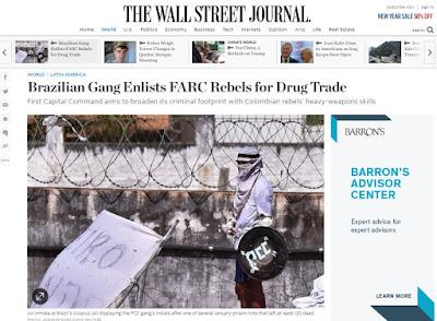 PCC está recrutando guerrilheiros das Farc, diz 'Wall Street Journal'