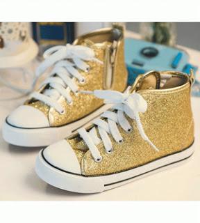 Glittery Sneaker Boots - Gold