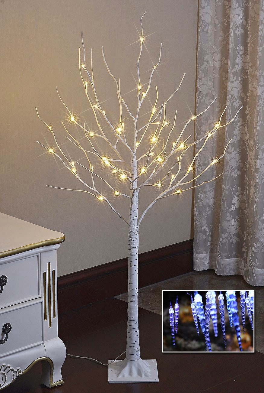 christmas light tree room decoration led lights lightshare decor bedroom decorate living birch warm 10l icicle 4ft 48l twinkling festival