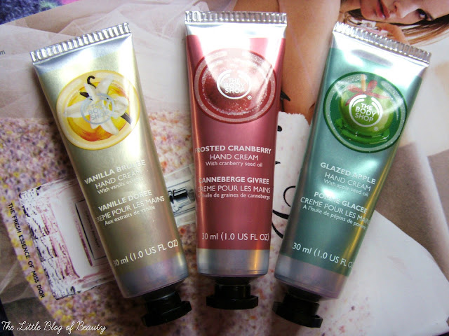 The Body Shop Christmas hand creams - Vanilla brulee, Frosted cranberry & Glazed apple