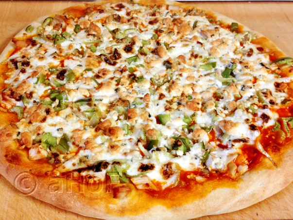 Buffalo Chicken Pizza, fresh from the oven