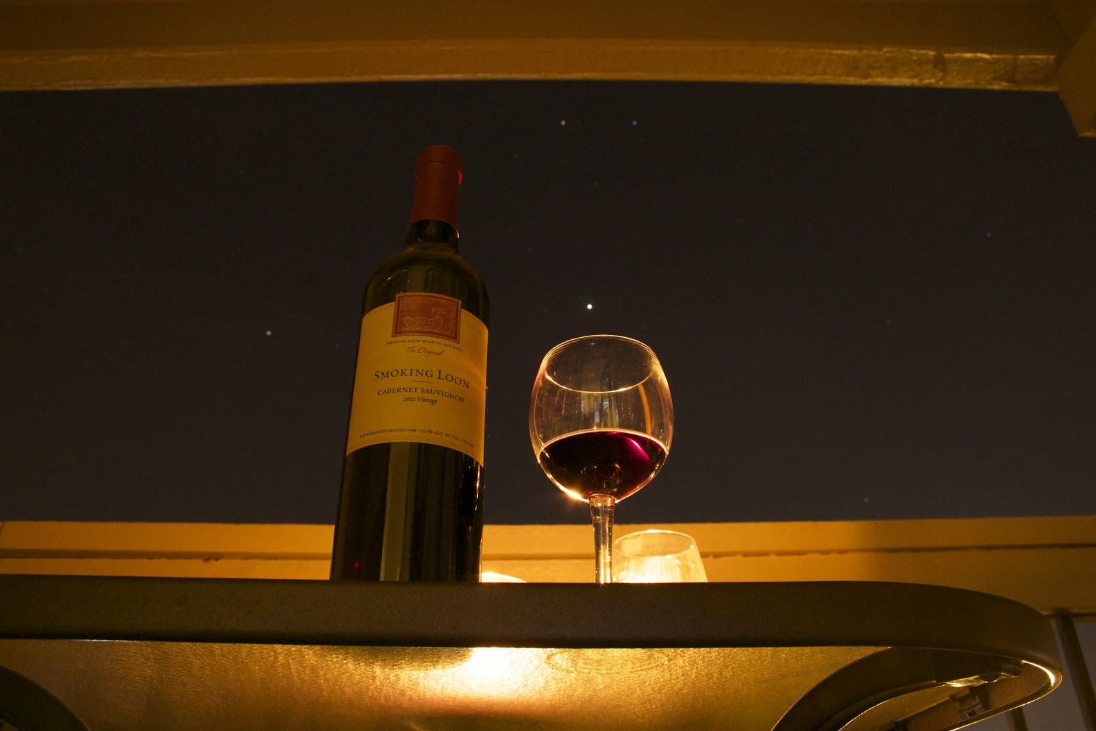 Bottle of Wine and Wine Glass with Night Sky and Stars