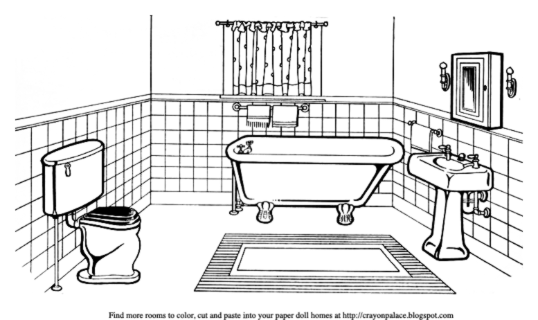 color a bathroom for a paper dolls house crayon palace