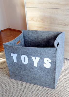 DIY: pudełko na zabawki z filcu, filcowe pudełko, kosz na zabawki